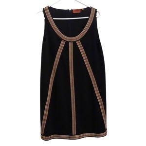MISSONI SLEEVELESS WOOL SHIFT DRESS BROWN STRIPES